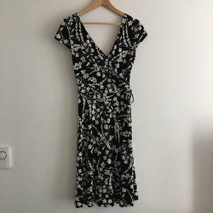 London Times Wrap Dress floral V neck sheath